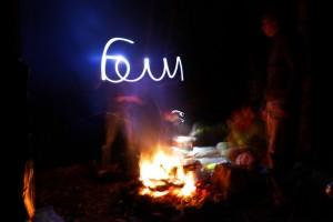 Light painting à côté du feu ... je sais pas écrire ...